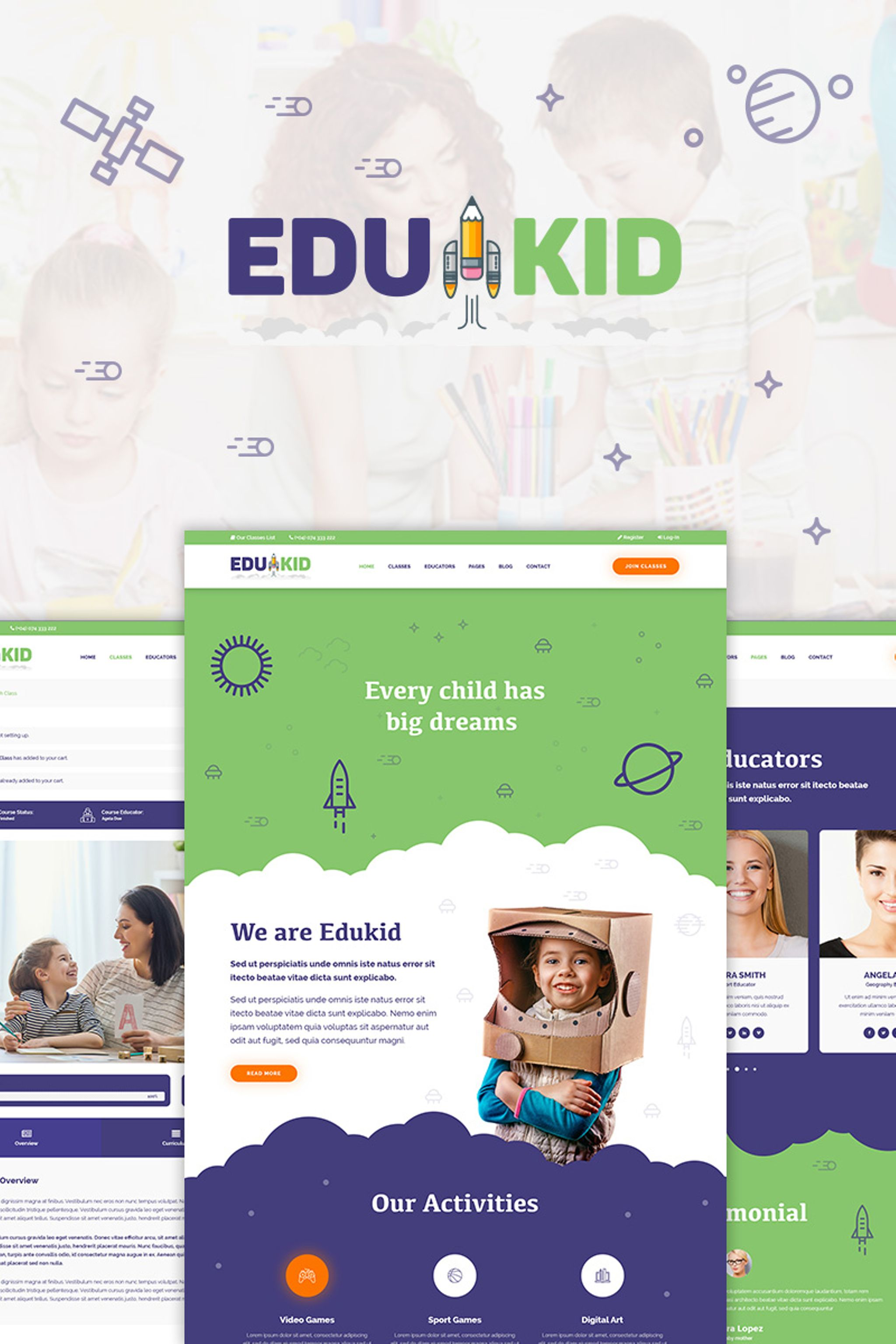 """Edukid - Kindergarten & School Education"" thème WordPress adaptatif #65420"