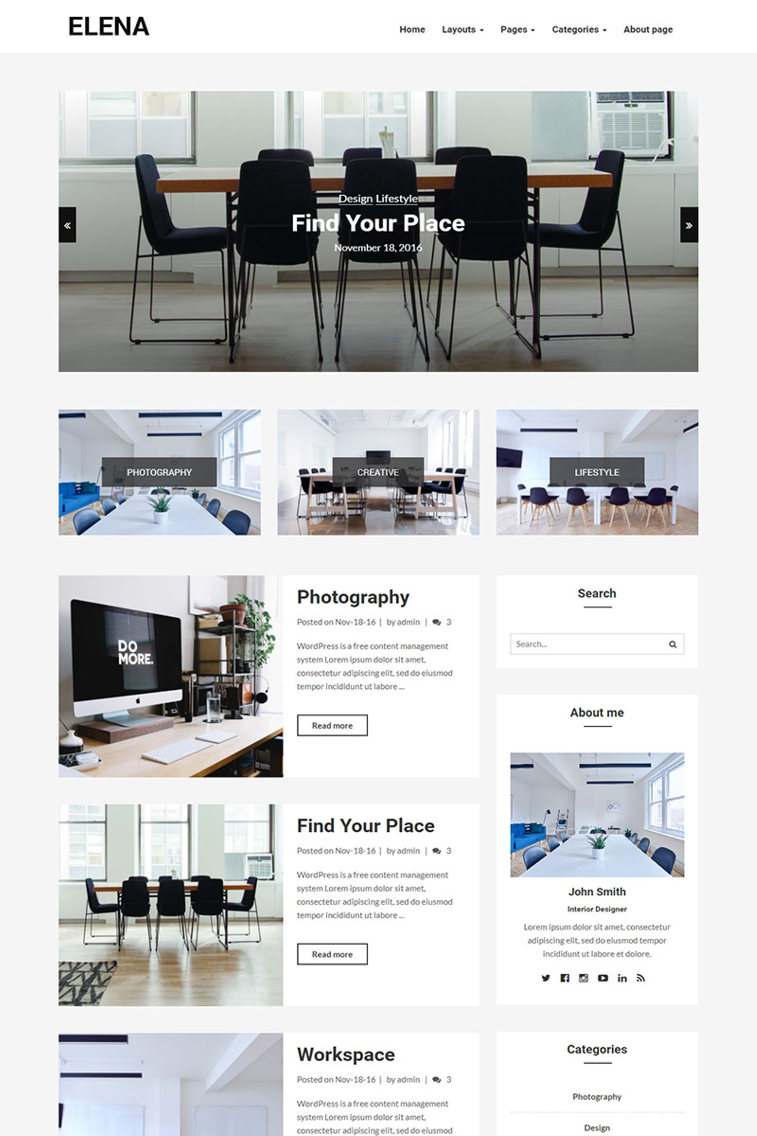 Elena - Responsive Blog WordPress Theme - screenshot