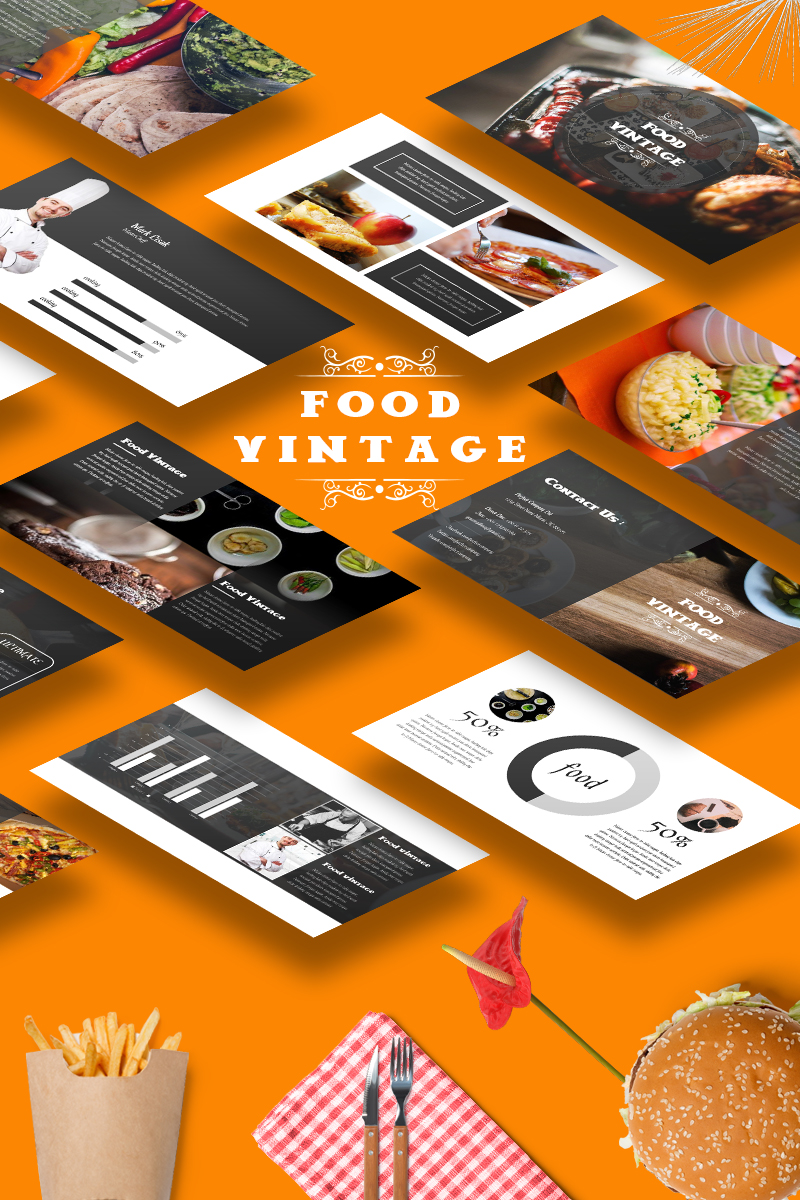 Food Vintage PowerPoint Template - screenshot