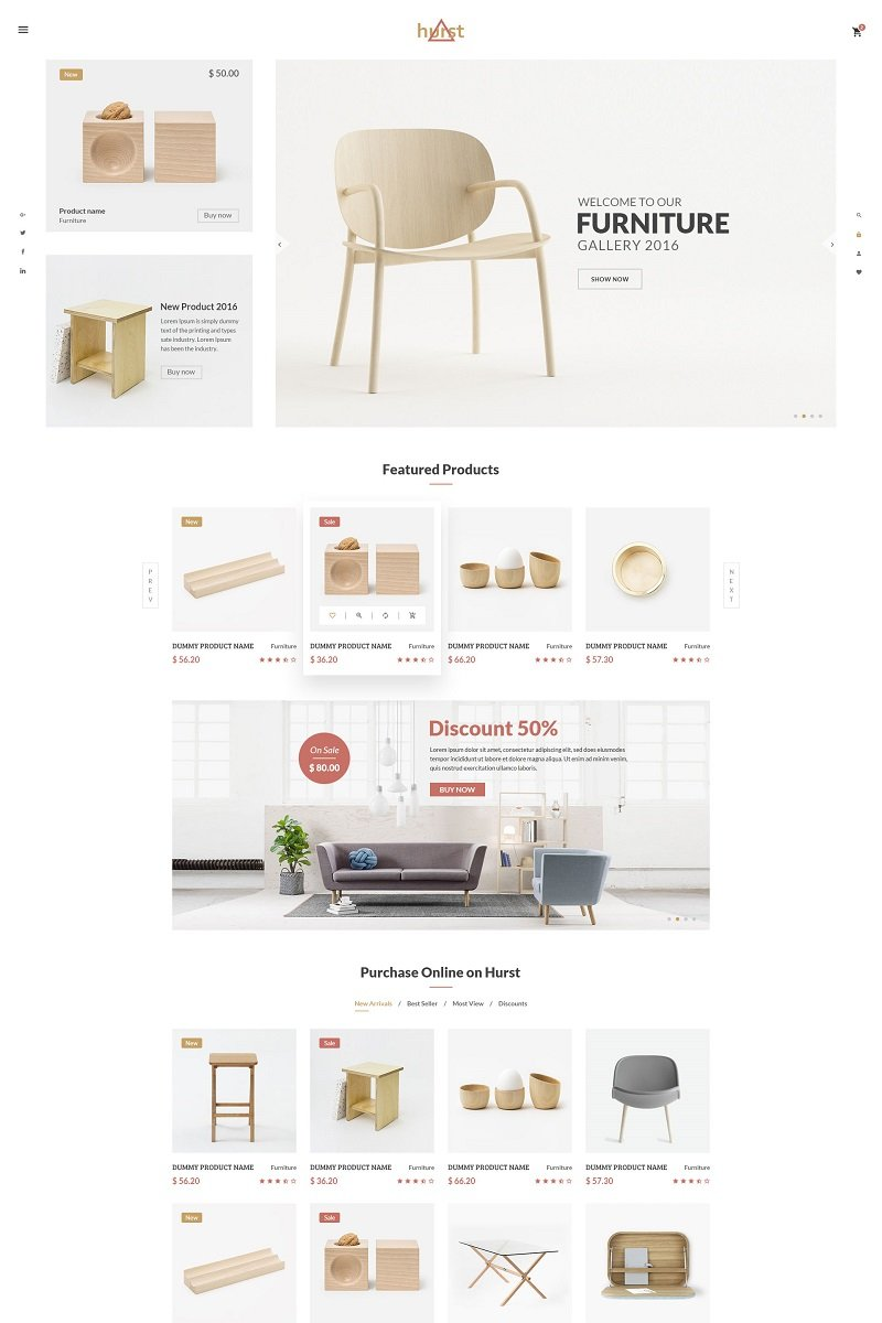 """Hurst - Furniture eCommerce"" modèle web adaptatif #65418 - screenshot"
