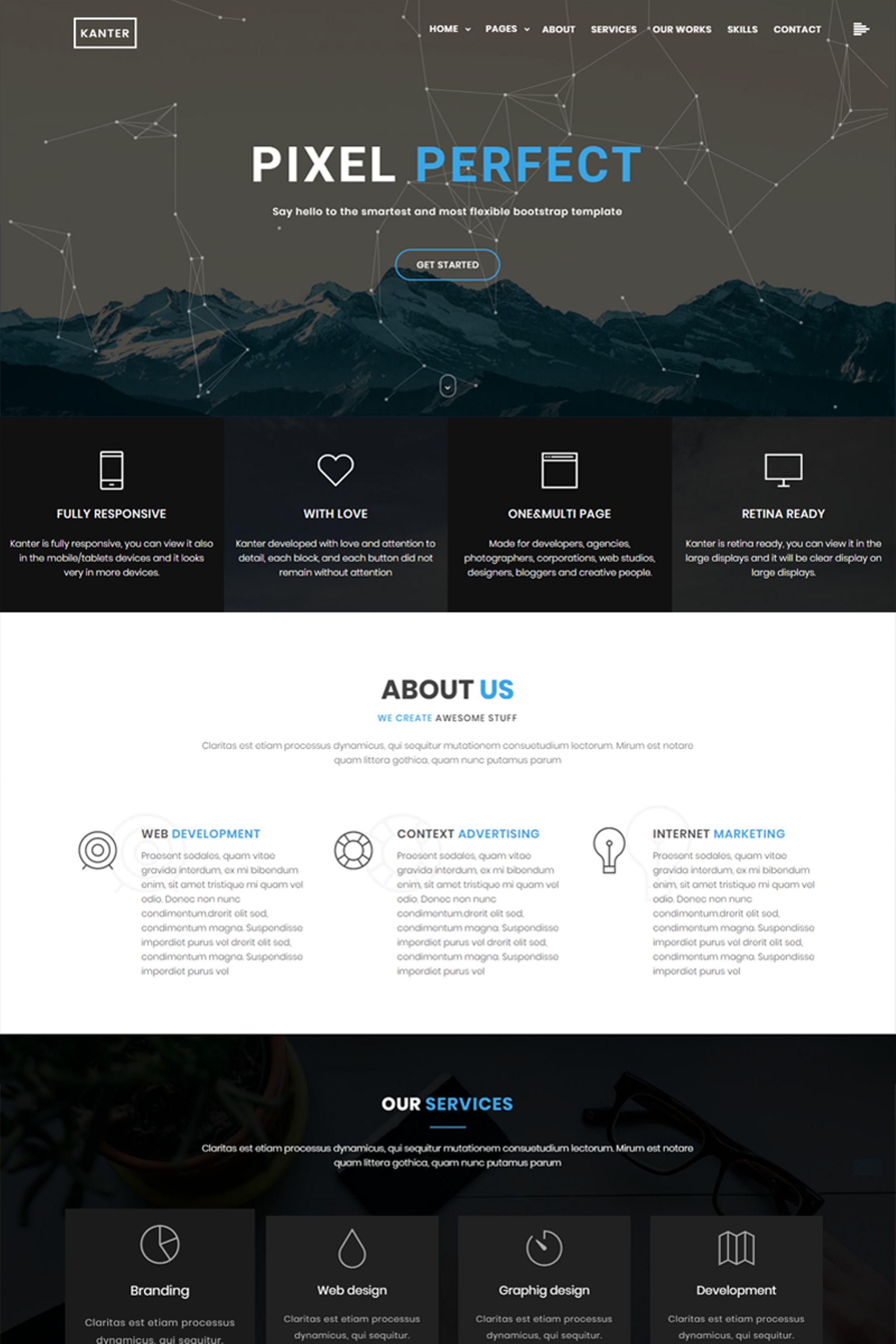 """Kanter - Creative Responsive Minimalistic HTML"" modèle web adaptatif #65438"