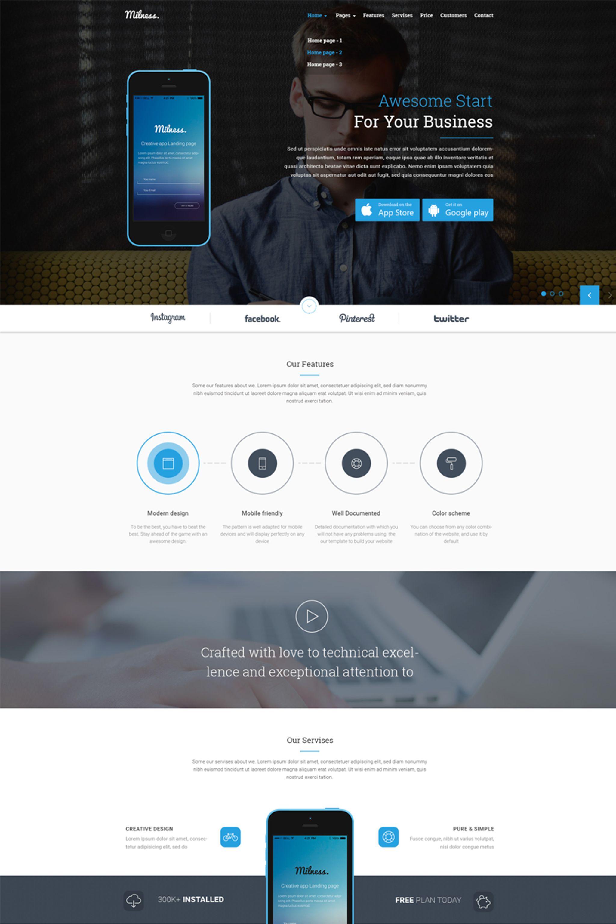 """Milness - Showcase Mobile App"" - адаптивний Шаблон сайту №65448 - скріншот"