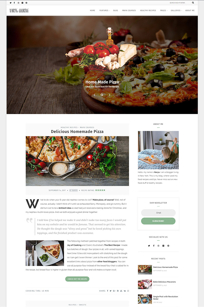 "Modello WordPress Responsive #65471 ""Narya - Food Blog For Cooks"" - screenshot"