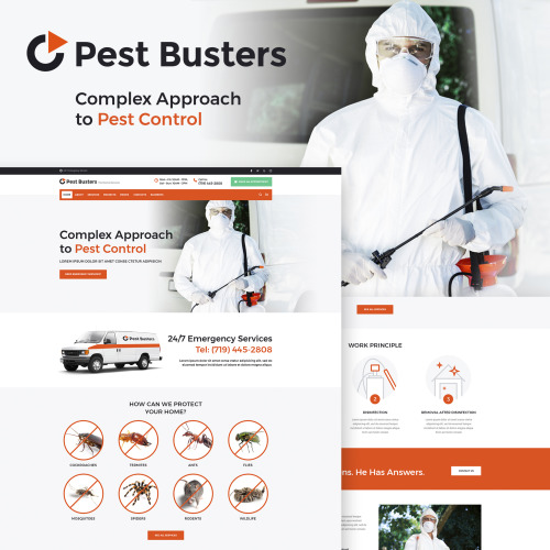 Pest Busters - Pest Control WordPress Theme - HTML5 WordPress Template