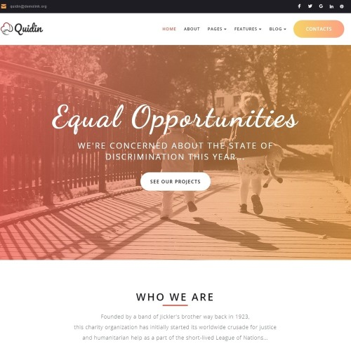 Quidin - Charity Fully Responsive WordPress Theme - HTML5 WordPress Template