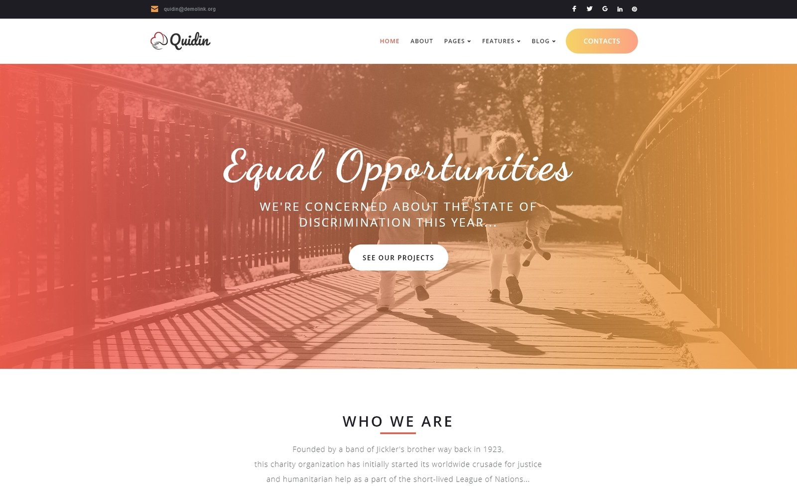 """Quidin - Charity Fully Responsive"" 响应式WordPress模板 #65451"