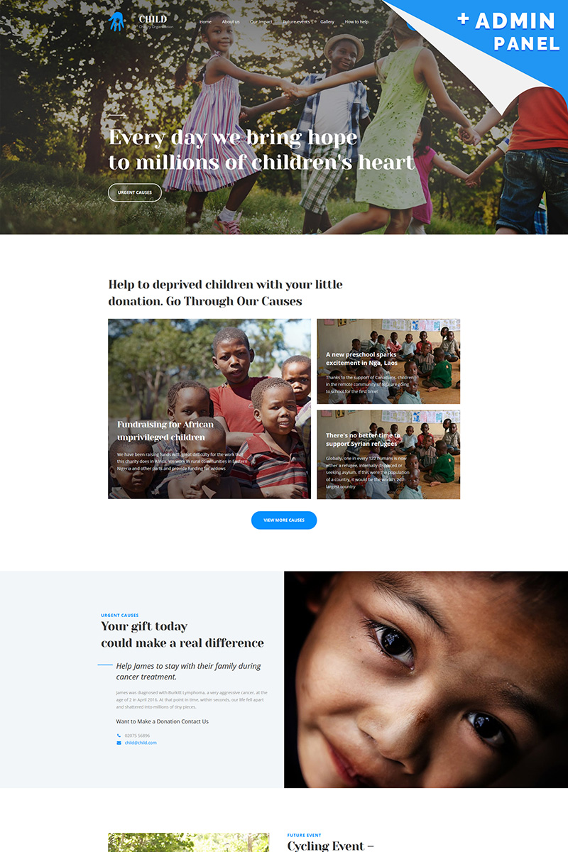 Responsives Landing Page Template für Wohltätigkeit #65475