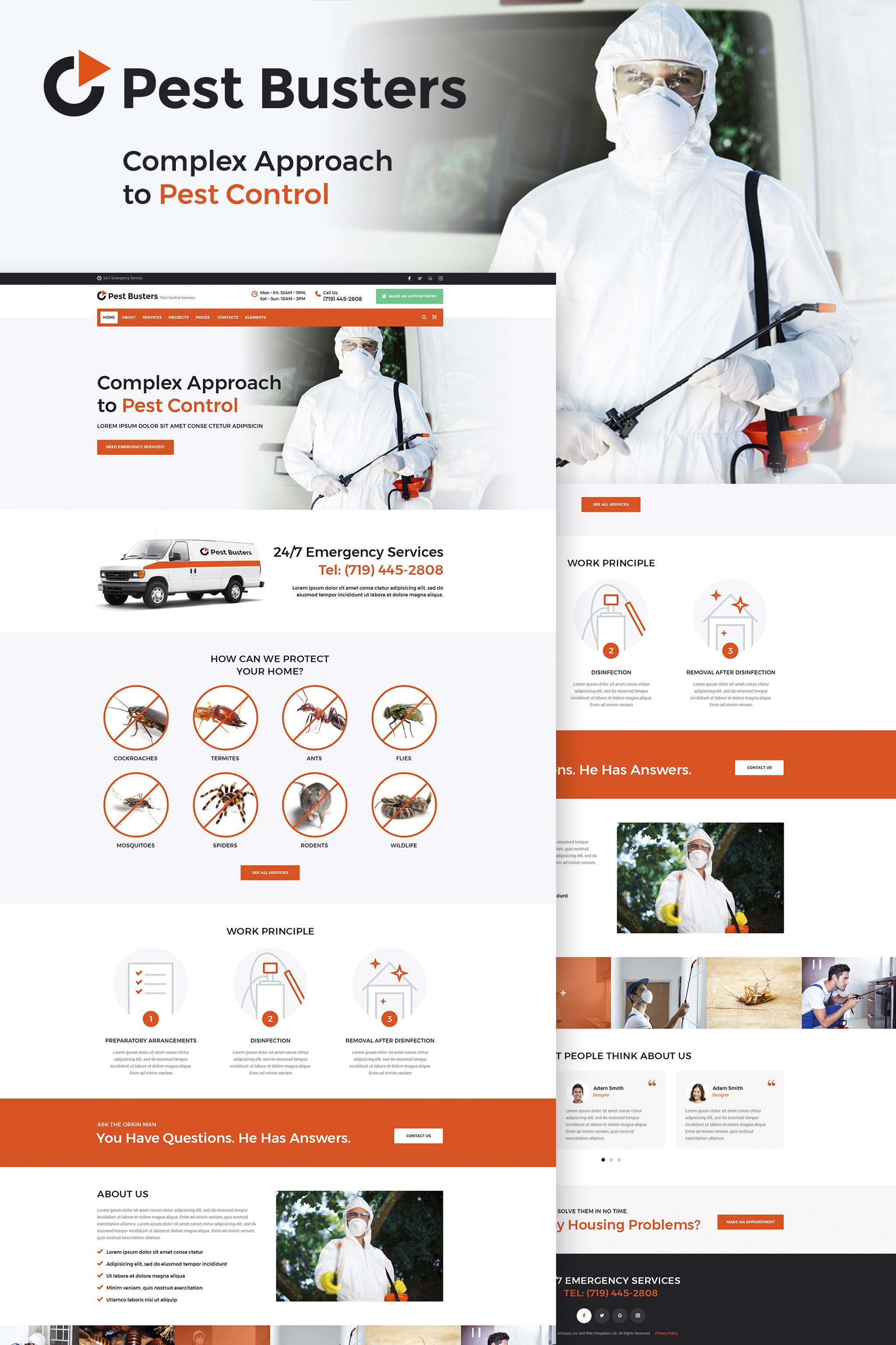 Responsivt Pest Busters - Pest Control WordPress-tema #65455 - skärmbild