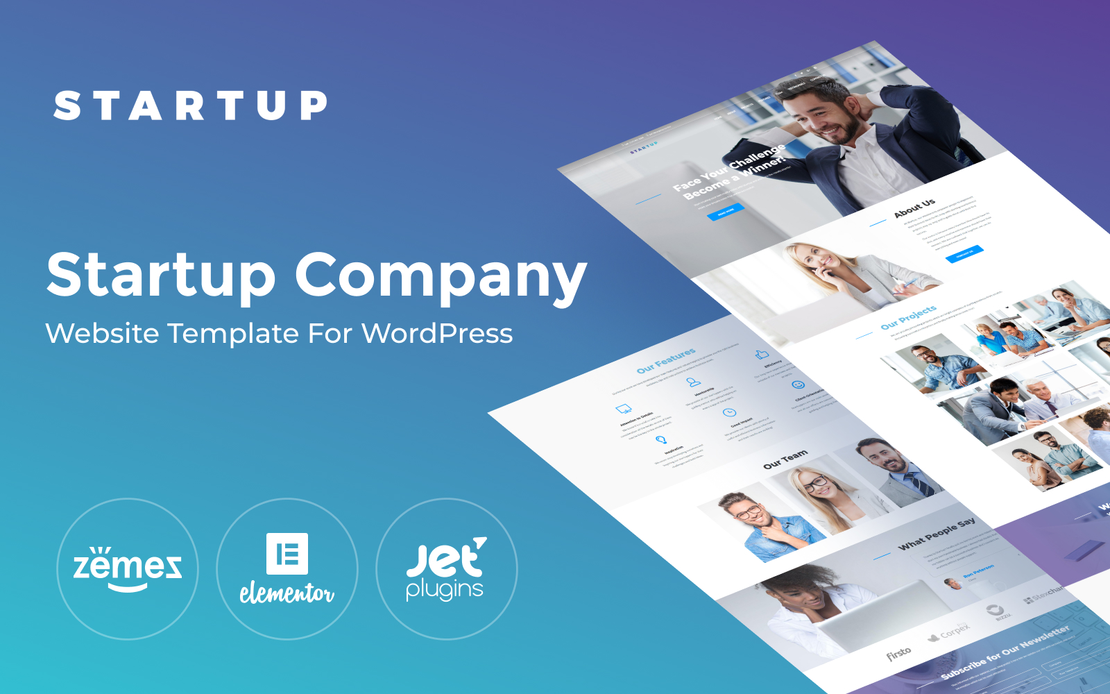 """Startup Company One Page"" Responsive WordPress thema №65461"