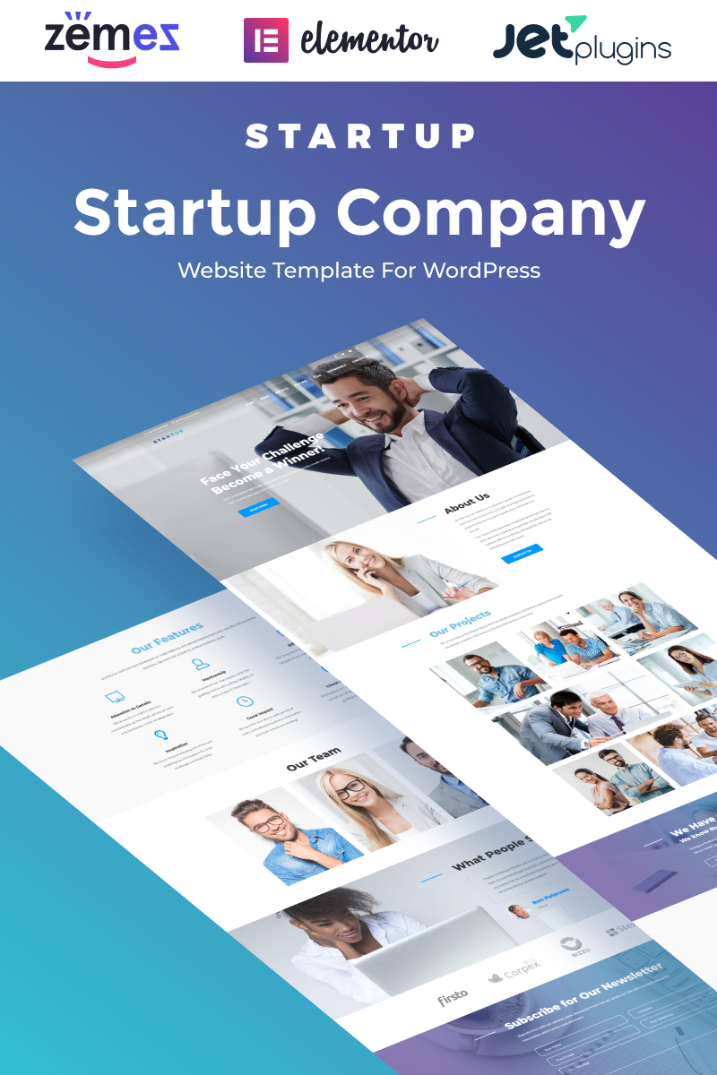 Startup Company One Page WordPress Theme Tema WordPress №65461