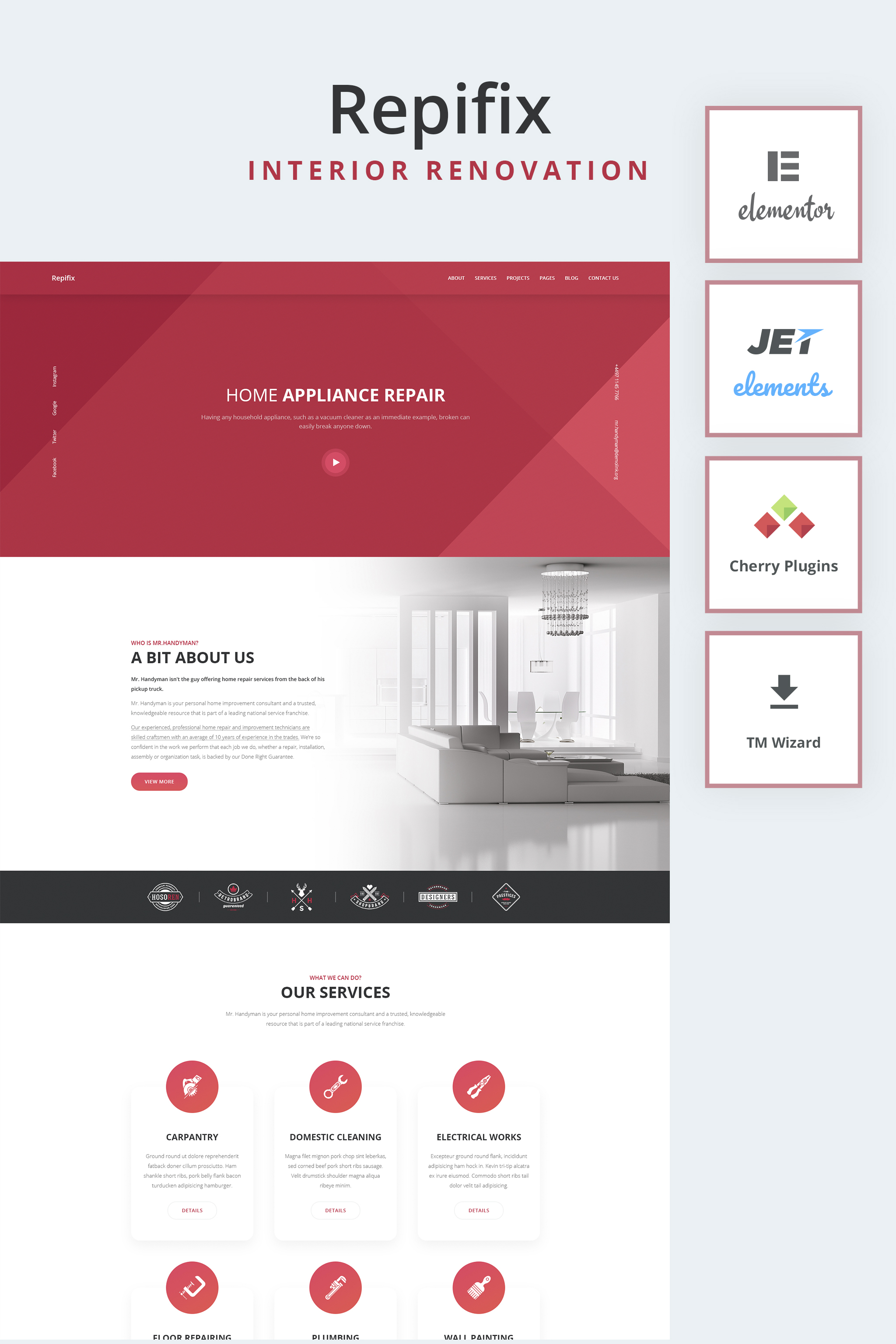 "Tema De WordPress ""Repfix - Interior Renovation WordPress Theme"" #65431 - captura de pantalla"