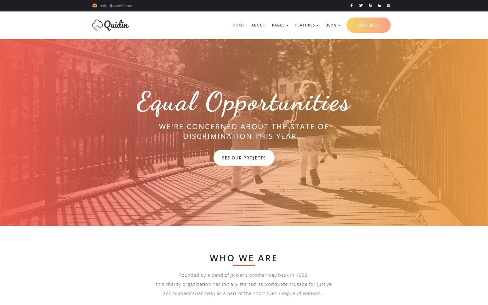 "Tema WordPress Responsive #65451 ""Quidin - Charity Fully Responsive"""