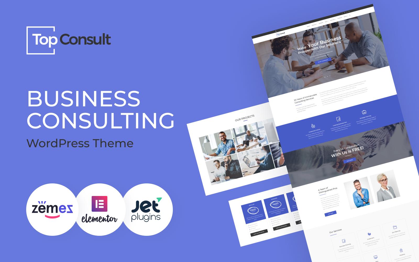 """TopConsult - Business Consulting WordPress Theme"" 响应式WordPress模板 #65484"
