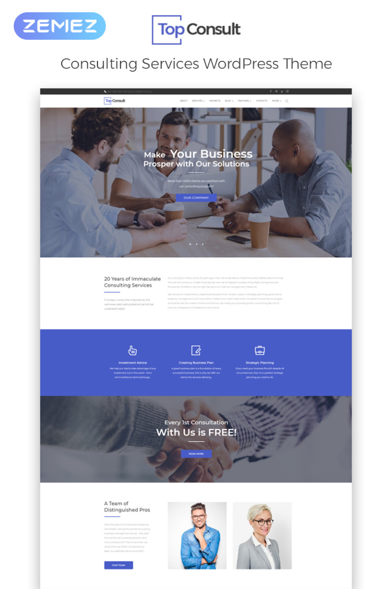 TopConsult - Business Consulting WordPress Theme Big Screenshot