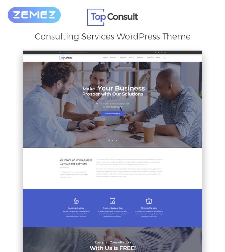 Tema de WordPress #65484 para Sitio de Consultoría