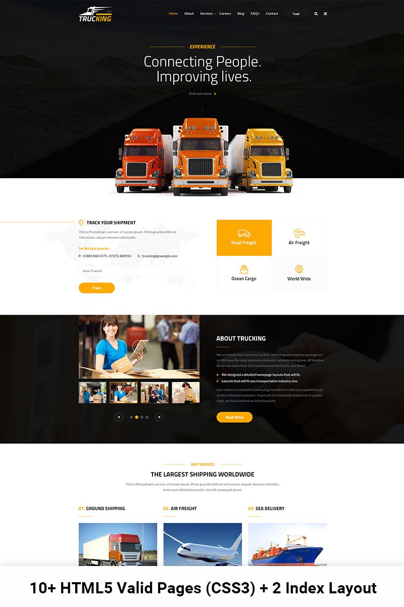 Trucking - Logistics And Transportation Website Template ...