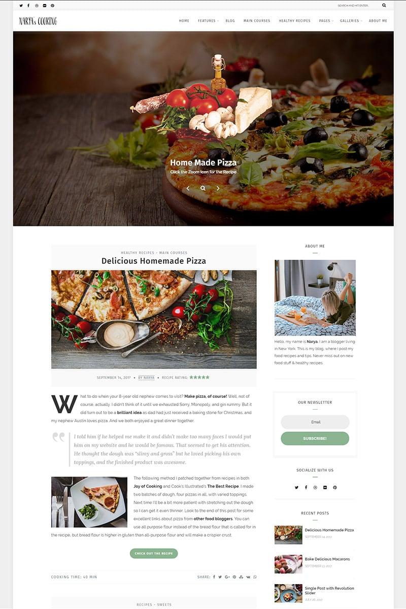 "WordPress Theme namens ""Narya - Food Blog For Cooks"" #65471 - Screenshot"