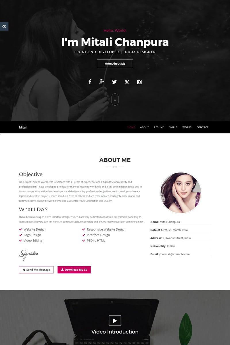 Website Design Template 65536 - cvtemplate personal portfolio personaltemplate portfoliotemplate responsive html resumehtml