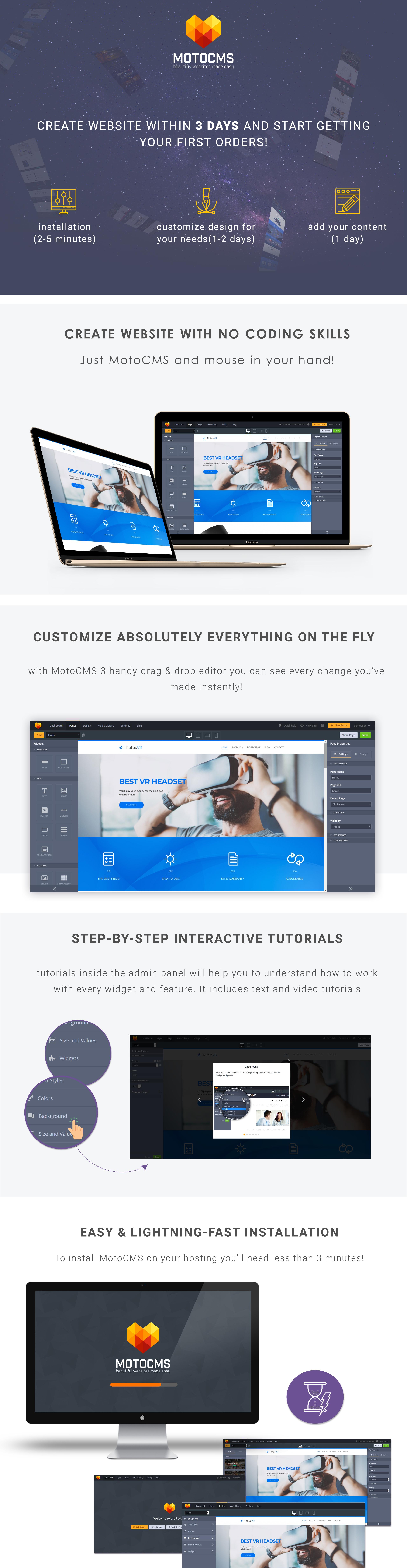 RufusVR - VR Startup Moto CMS 3 Template