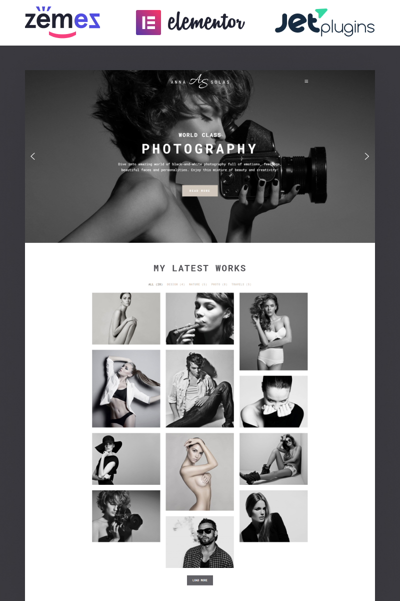"""Anna Solas - Photographer Portfolio"" 响应式WordPress模板 #65550"