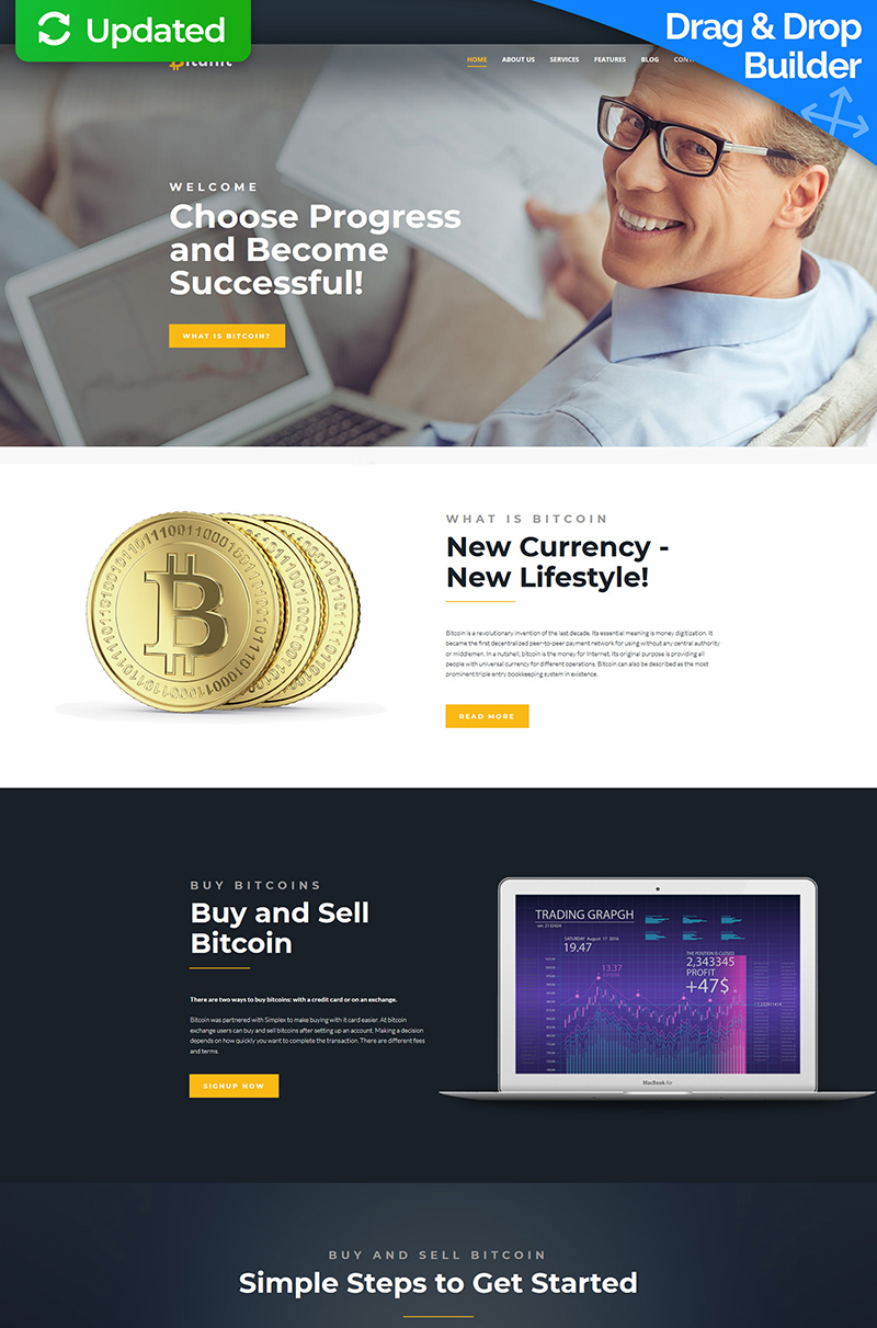 Bitunit - Bitcoin Cryptocurrency Moto CMS 3 Template