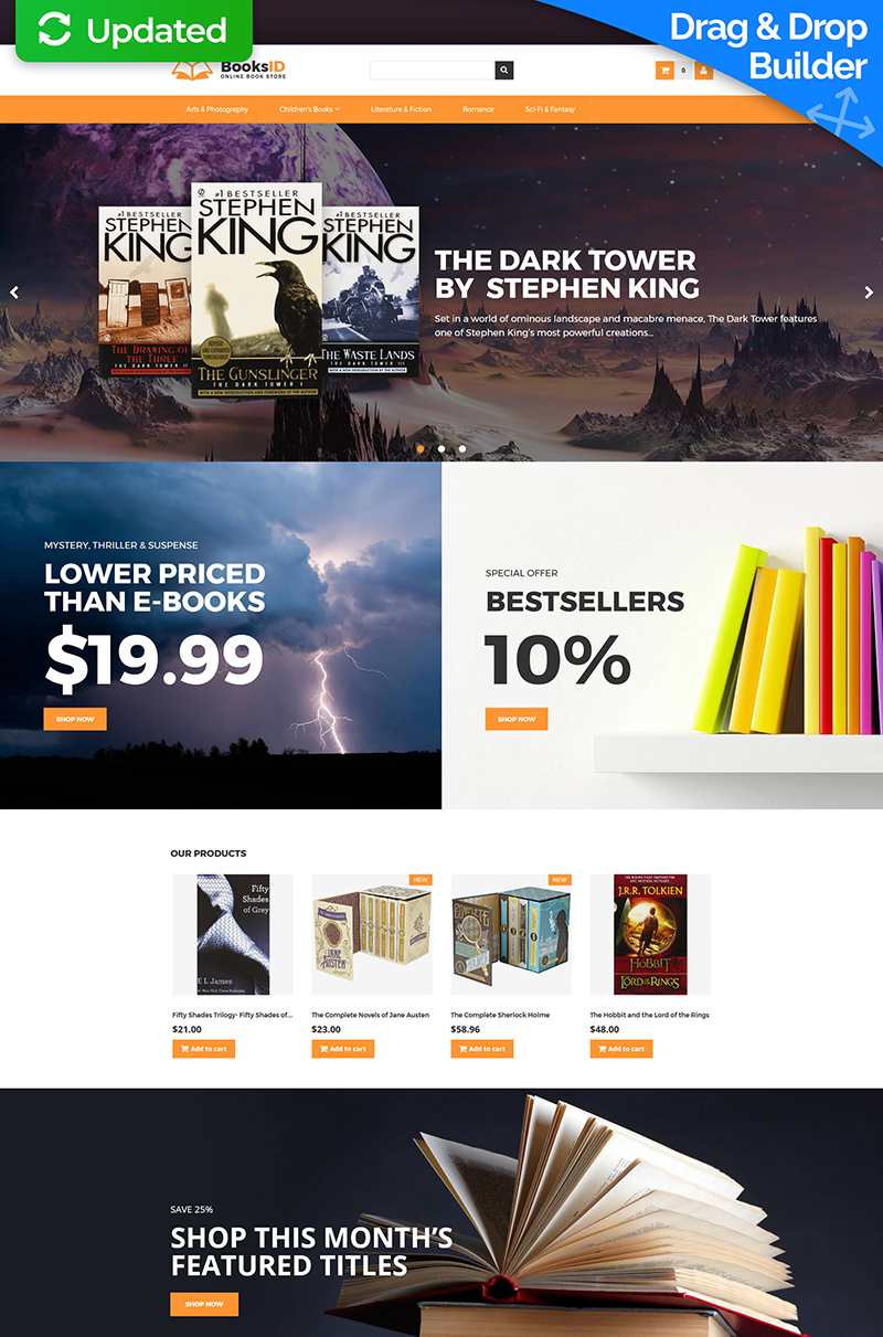 """""""BooksID - Online Book Store"""" Responsive MotoCMS Ecommercie Template №65582"""