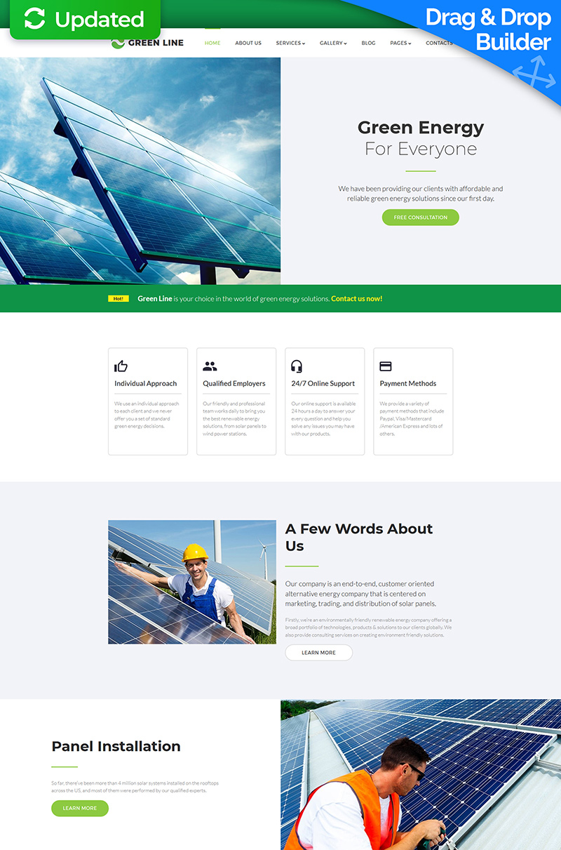 Green Line - Solar Energy Company Templates Moto CMS 3 №65567