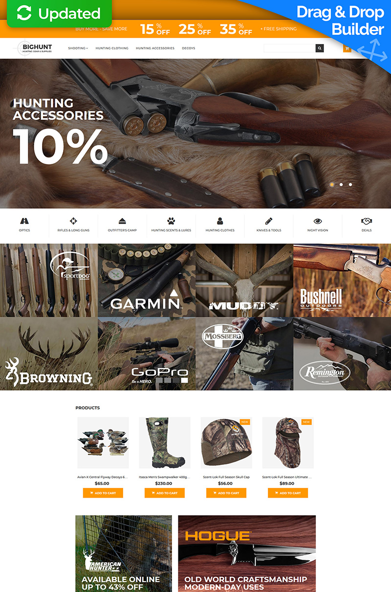 """Hunting Gear and Supplies"" modèle MotoCMS pour commerce électronique adaptatif #65591"