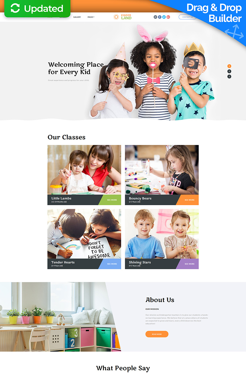KinderLand - Kids Center Moto CMS 3 Template