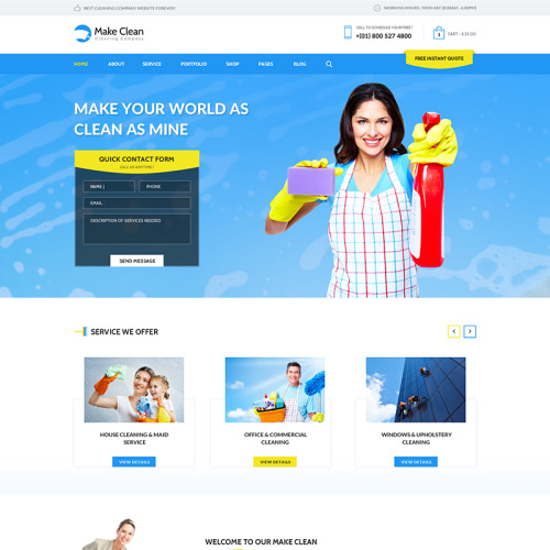 Make Clean - Cleaning Company - WordPress Template based on Bootstrap