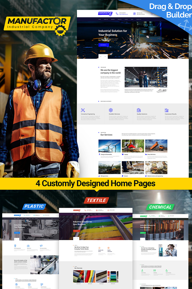 """""""ManuFactor - Multipurpose Industrial and Manufacturing"""" 响应式Moto CMS 3 模板 #65556"""