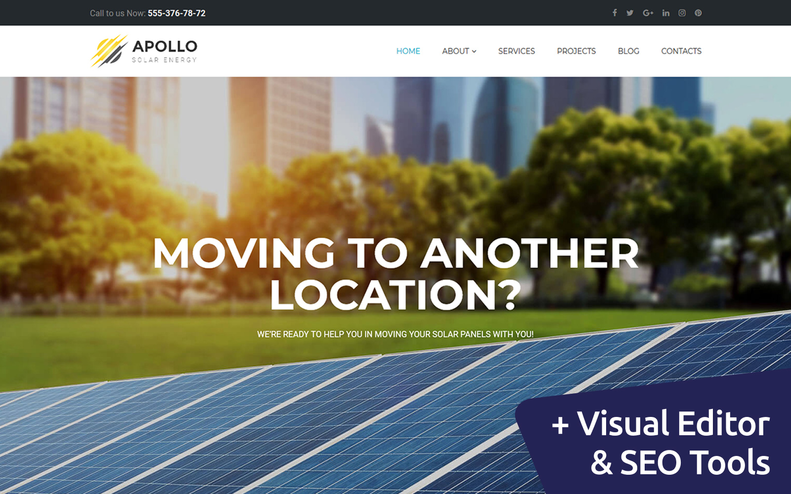 "Moto CMS 3 Template namens ""Apollo - Solar Energy"" #65570"