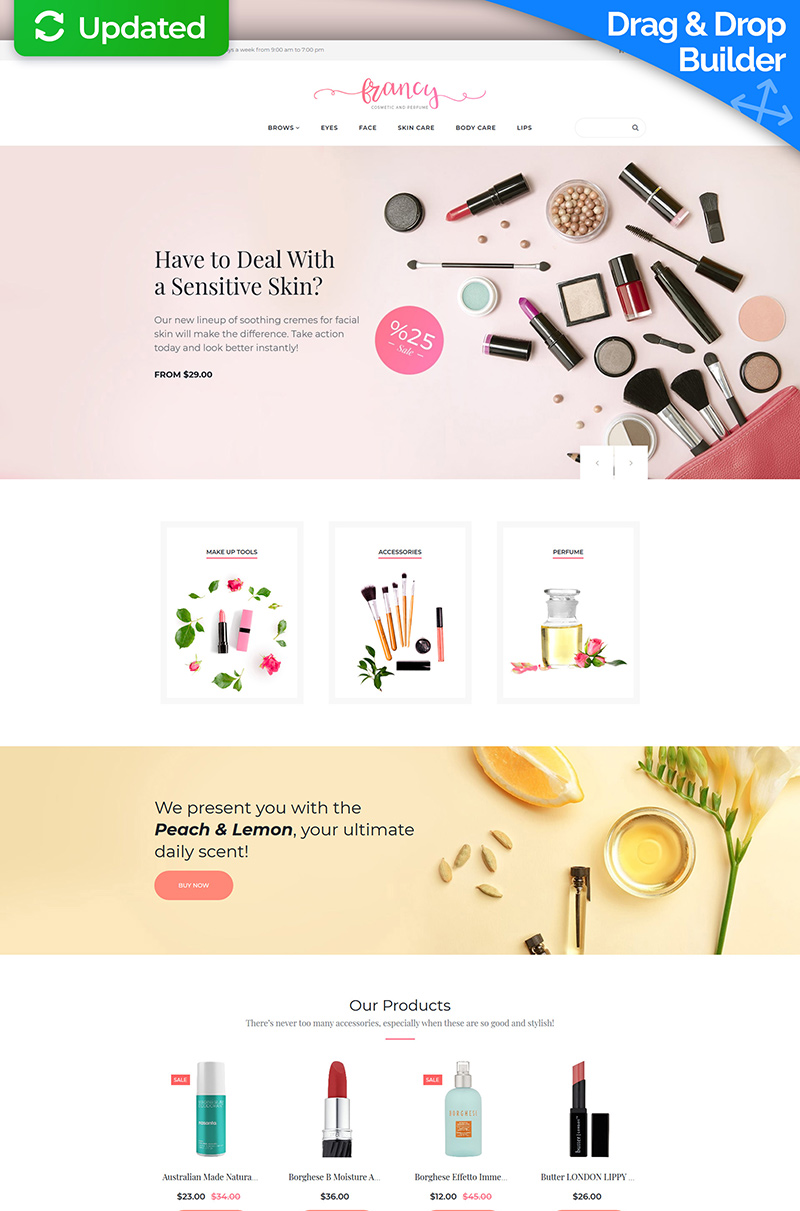 "MotoCMS E-Commerce Vorlage namens ""Francy - Cosmetics Store"" #65588"