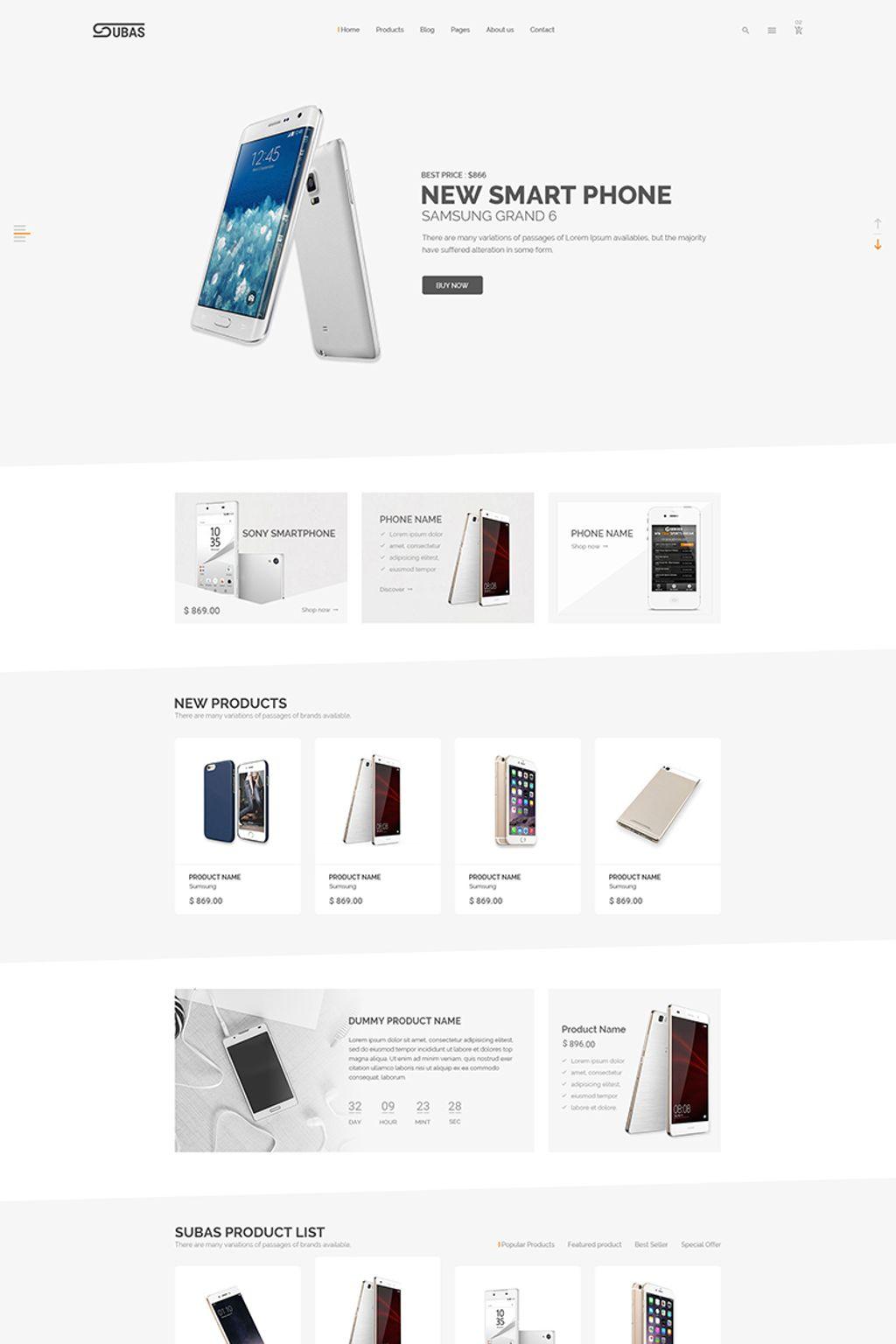 Subas - Electronics eCommerce Website Template - screenshot