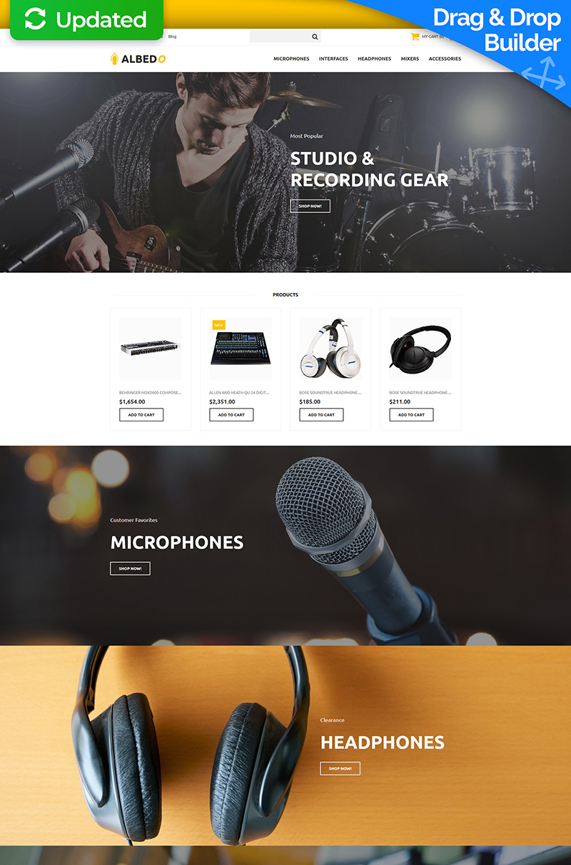 "Tema MotoCMS E-commerce Responsive #65586 ""Albedo - Audio Shop"""