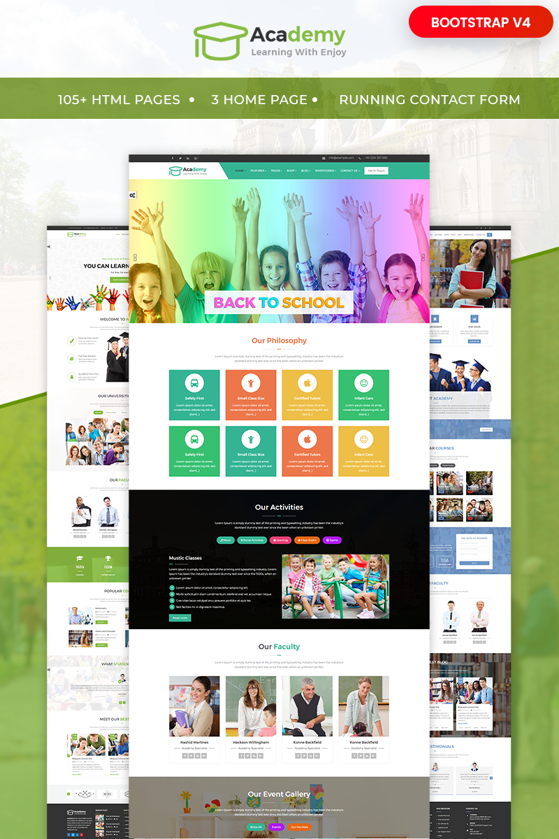 """Template Siti Web Responsive #65554 """"Academy - Education, Learning Courses & Institute"""""""