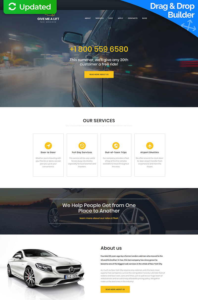 Templates Moto CMS 3 Flexível para Sites de Taxi №65563