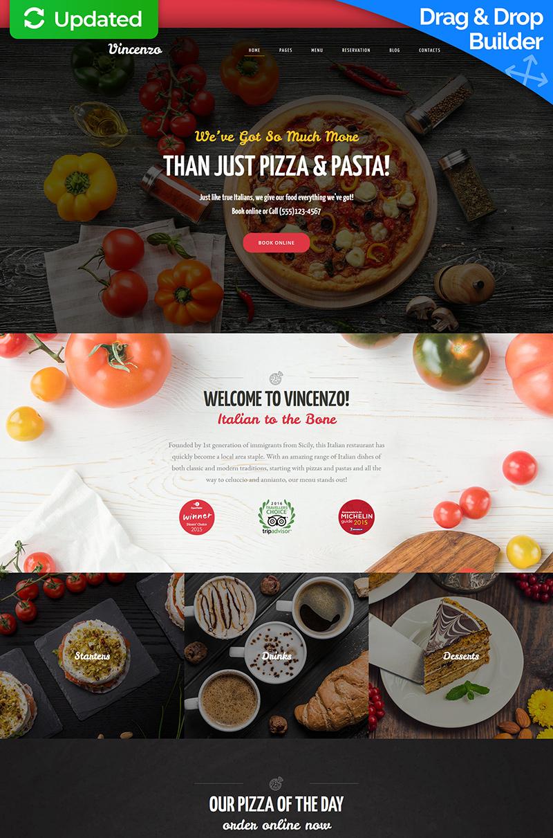 """Vincenzo - Delicious Pizza Restaurant"" Responsive Moto CMS 3 Template №65569"