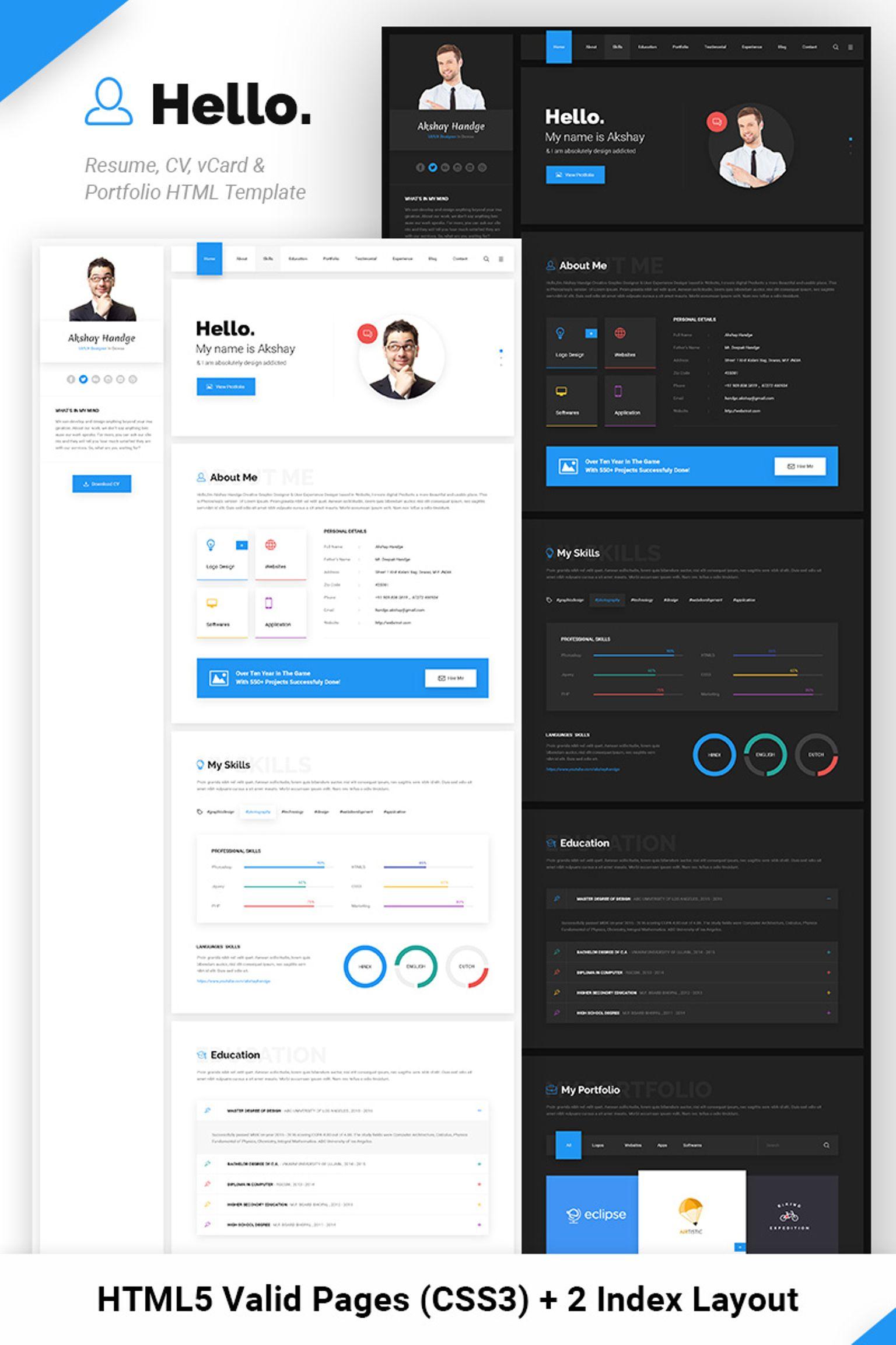Website Vorlage für Designer Portfolio