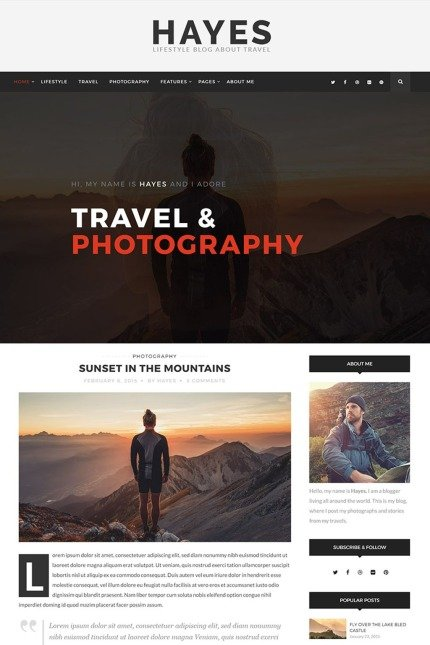Website Design Template 65620 - bold clean creative fashion food hipster instagram lifestyle minimal personal photography travel wordpress grid masonry sidebar fullwidth mountains