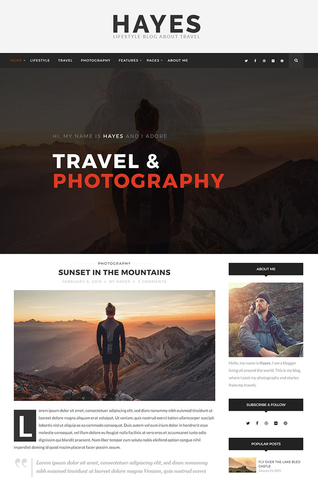 Website Design Template 65620 - theme bold clean creative fashion food hipster instagram lifestyle minimal personal photography travel wordpress grid masonry sidebar fullwidth mountains
