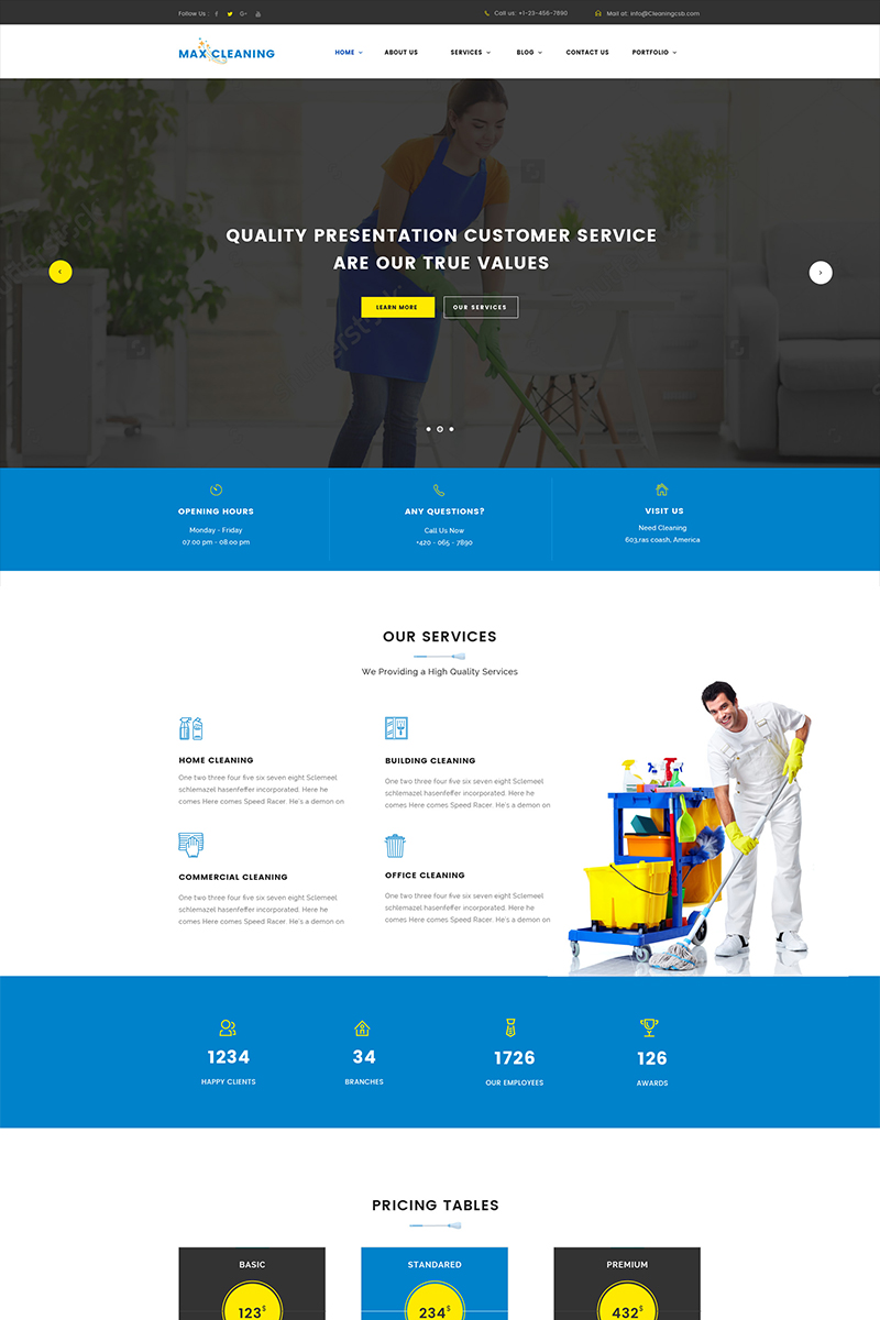 Website Design Template 65635 - cleaners maintenance business house garden handyman housekeeper construction care repair repairs