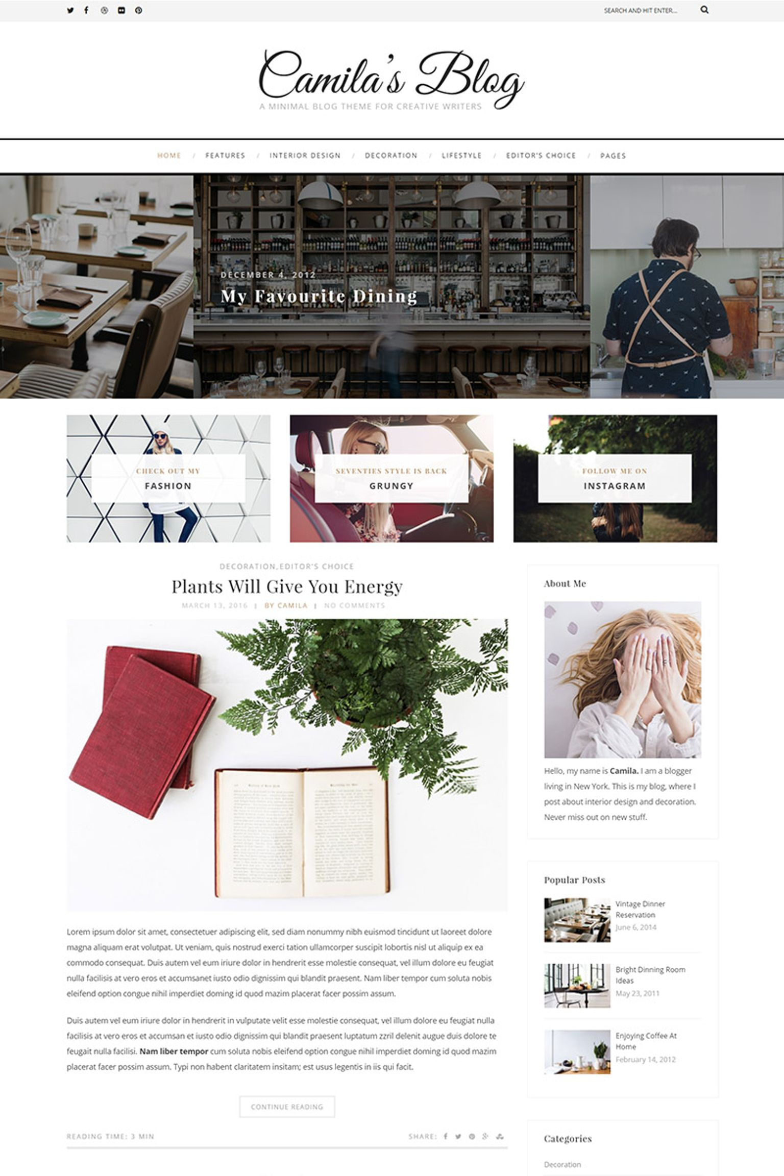 Website Design Template 65636 - clean creative fashion food hipster instagram lifestyle minimal personal photography travel wordpress essential grid masonry sidebar fullwidth