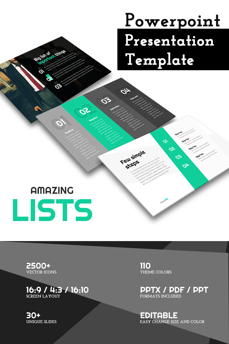 Amazing Lists - PowerPoint Template - screenshot