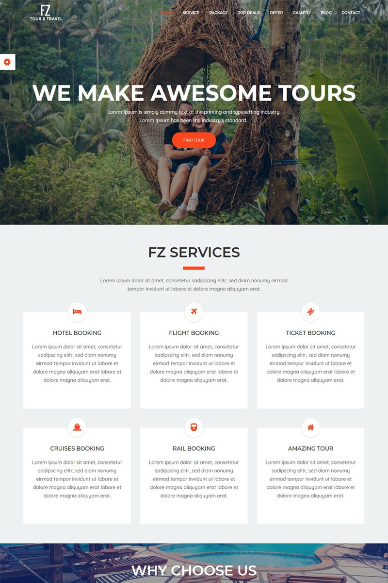 Bootstrap FZ - Tour & Travel Agency Bootstrap Hemsidemall #65645 - skärmbild