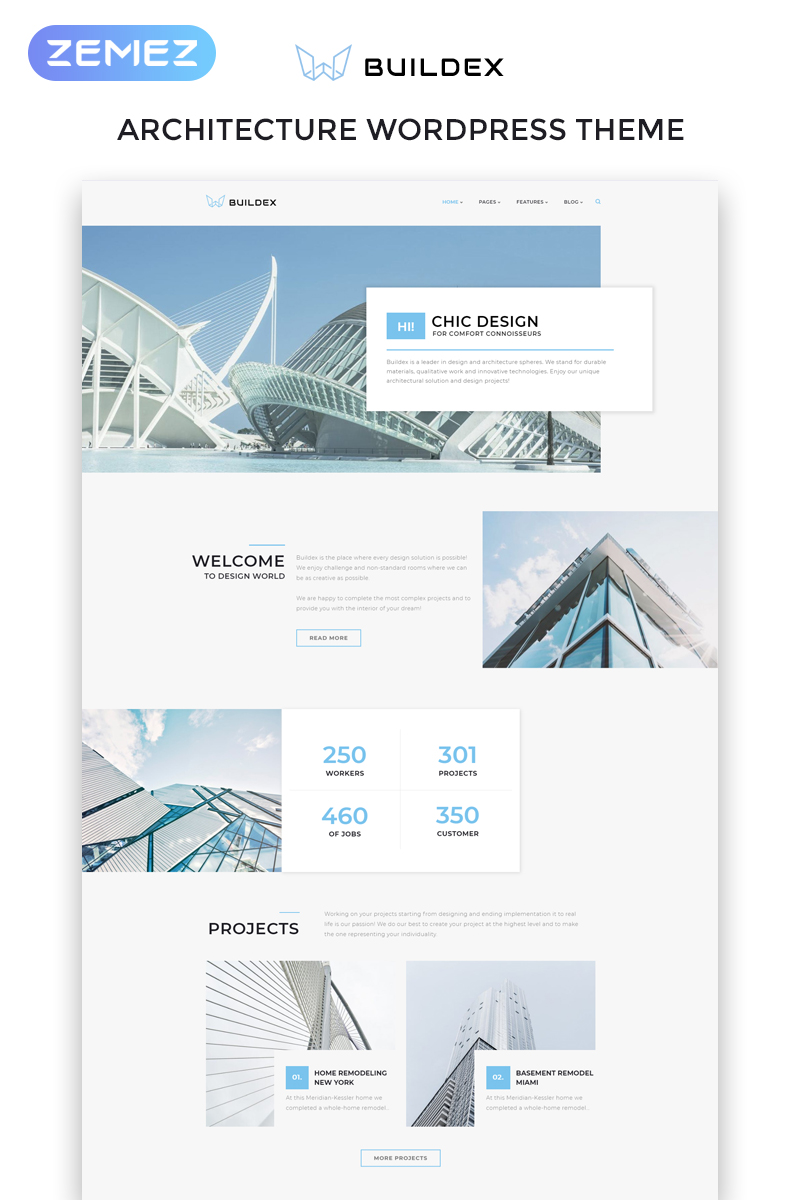 """Buildex - Multipage Architecture Agency Responsive"" - адаптивний WordPress шаблон №65631"