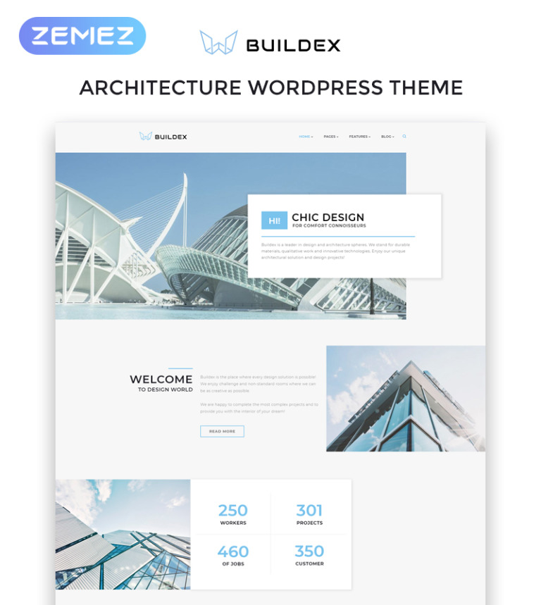 Buildex - Multipage Architecture Agency Responsive WordPress Theme