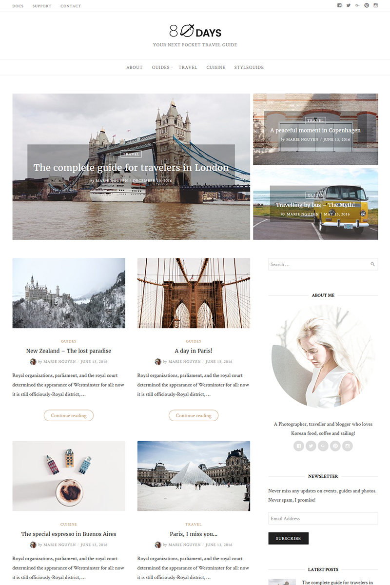 """EightyDays - Travel Blog"" 响应式WordPress模板 #65640 - 截图"