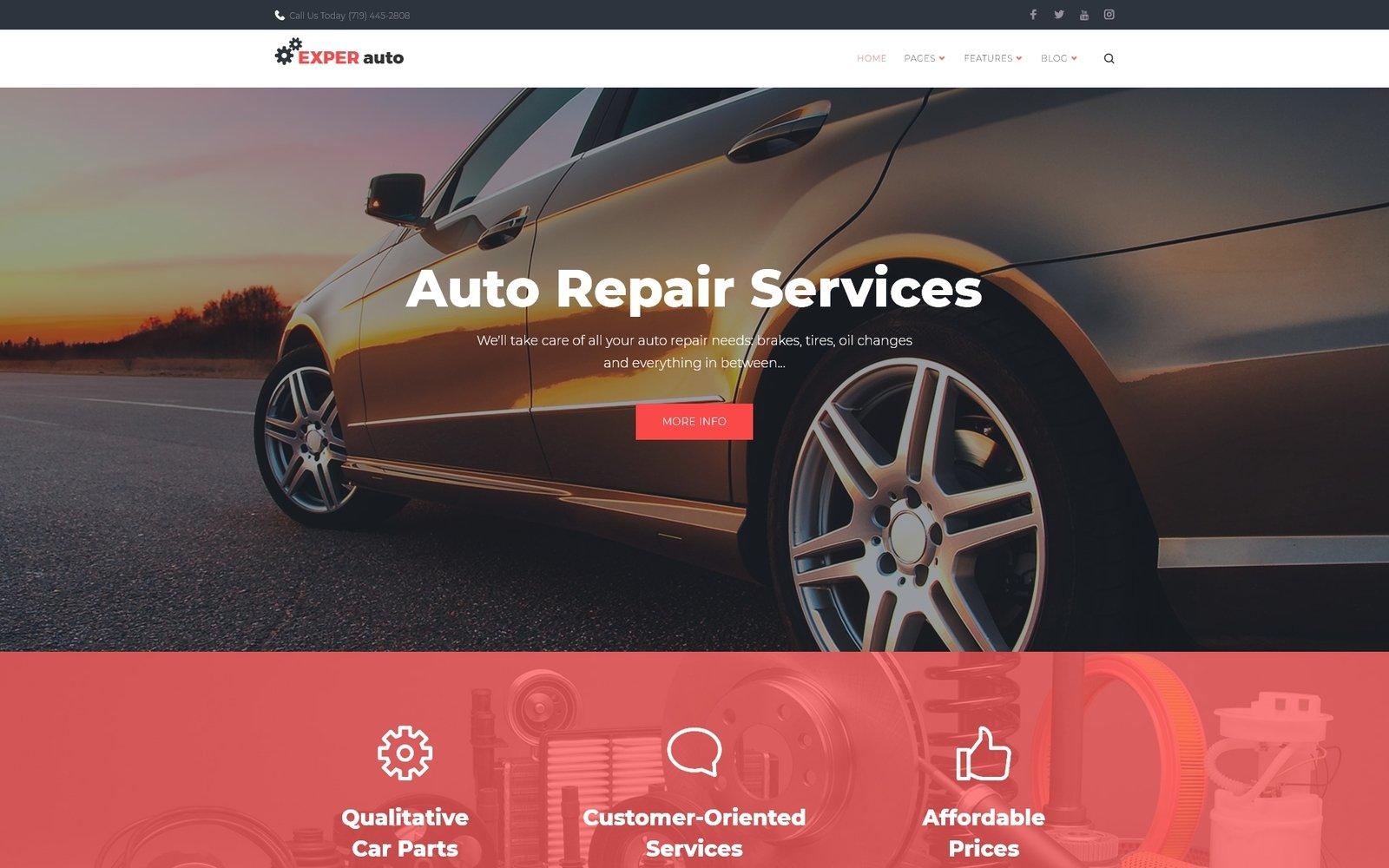 EXPER Auto - Auto Repair Services Fully Responsive WordPress Theme №65608 - скриншот