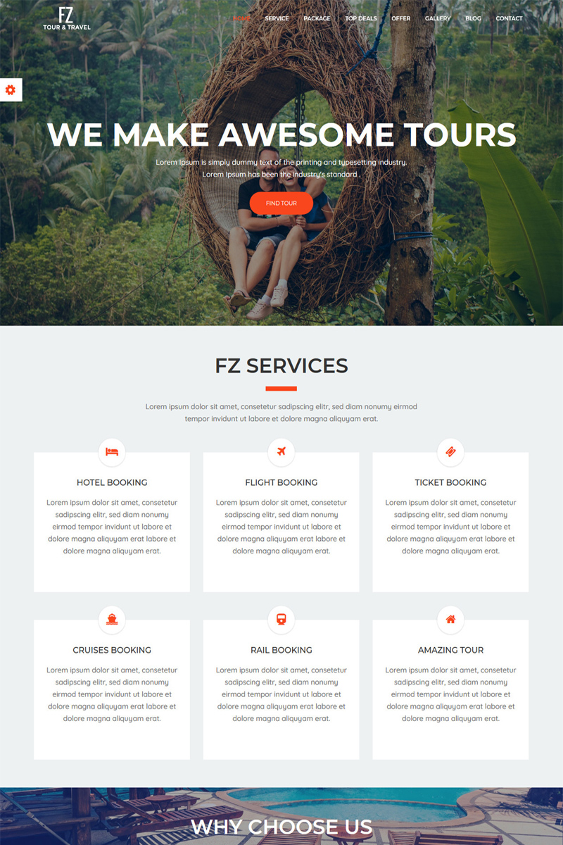 """""""FZ - Tour & Travel Agency Bootstrap"""" Bootstrap Website template №65645"""